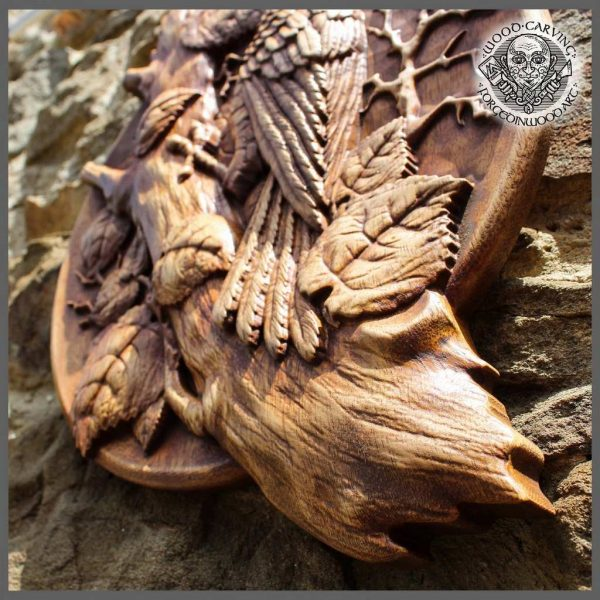 Carved wood bird Wall Hanging
