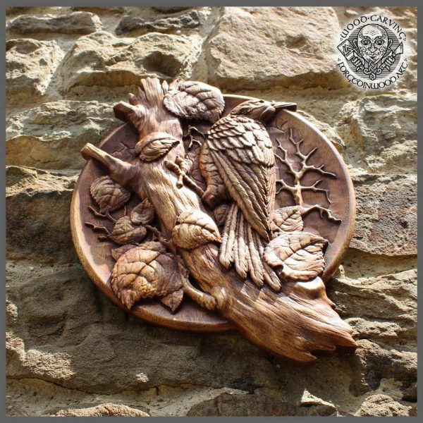 Bird Wood Carved Wall Plaque