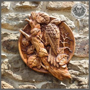 woodpecker bird animal hand carved